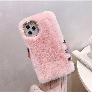 Accessories - iPhone 11 Pink Furry Case